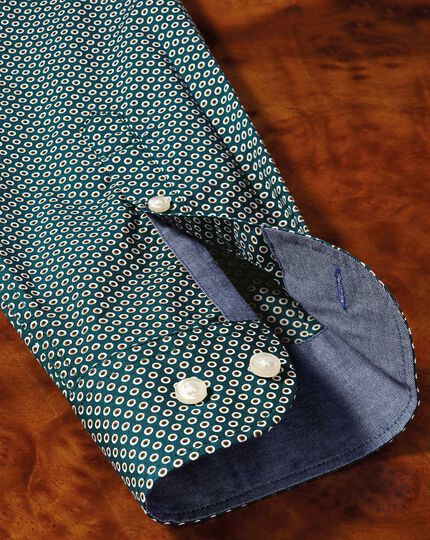 Classic fit dark green spot print shirt