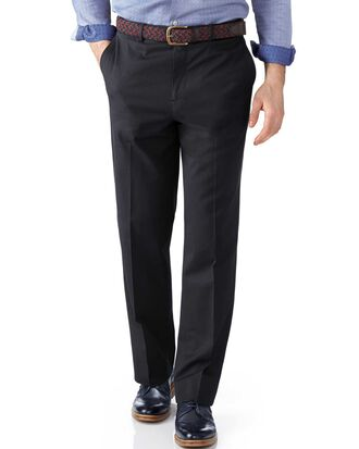 Grey classic fit stretch cavalry twill trousers
