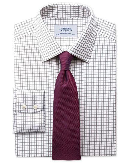 Slim fit non-iron windowpane check brown shirt