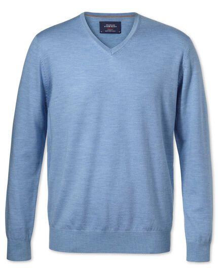 Sky merino wool v-neck jumper