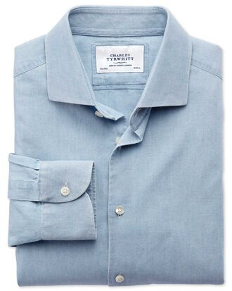 Extra slim fit semi-cutaway collar business casual chambray denim blue shirt