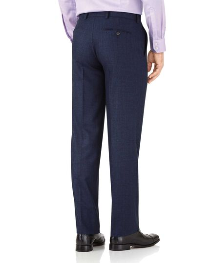 Royal blue classic fit flannel business suit trousers