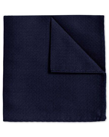 Navy textured plain classic pocket square