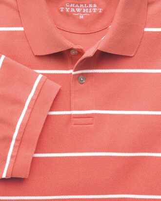 Coral and white stripe pique polo