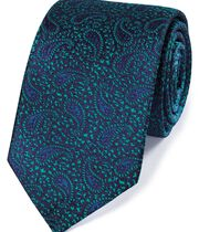 Navy and green silk paisley English luxury tie