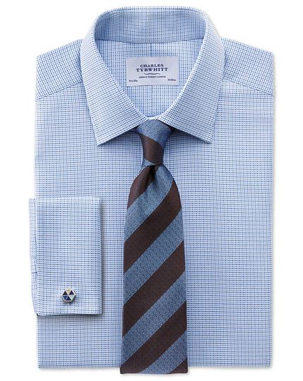 Classic fit Egyptian cotton textured blue shirt