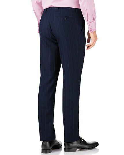 Navy stripe slim fit British serge luxury suit trousers