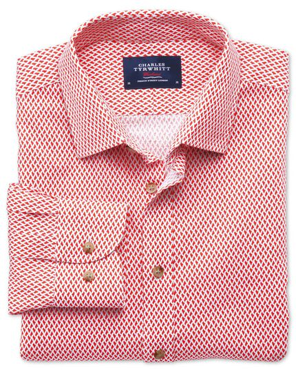 Classic fit coral and white print shirt