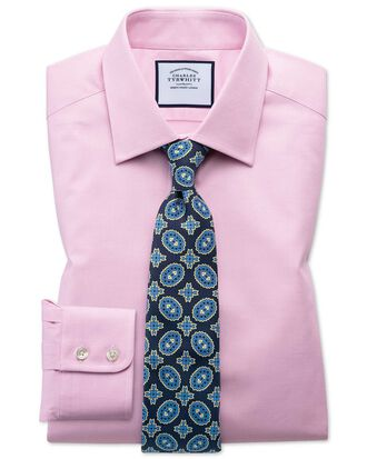 Slim fit Egyptian cotton trellis weave pink shirt