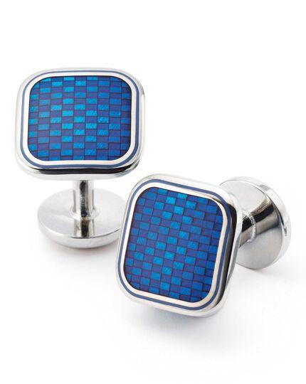 Manschettenknöpfe aus Emaille in Blau mit Basketweave