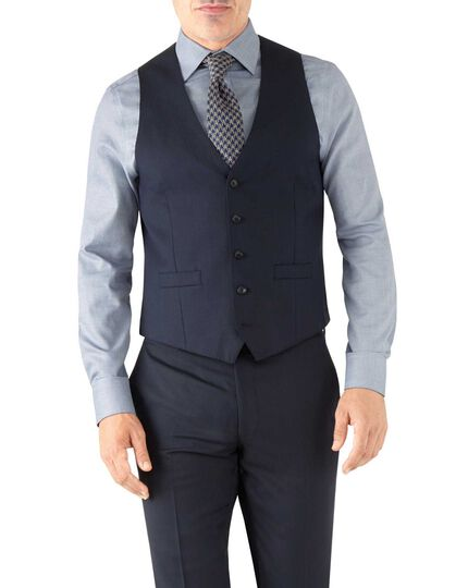 Navy herringbone adjustable fit Italian suit waistcoat