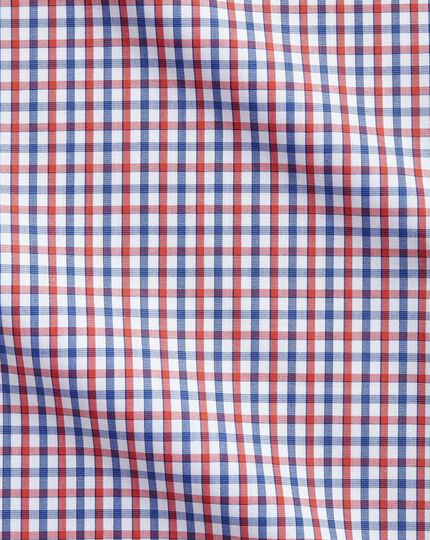 Classic fit two color check red and blue shirt