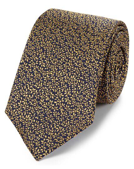 Cravate classique bleu marine et or en soie à micro-feuilles