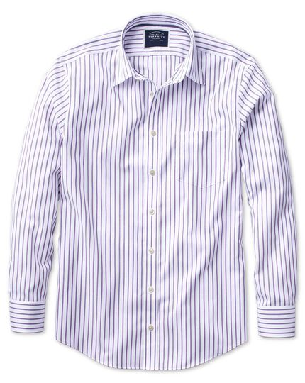 Classic fit non-iron Oxford white and lilac stripe shirt