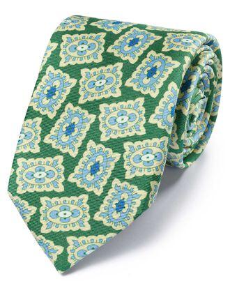 Cravate verte et bleue en luxueuse soie anglaise avec imprimé médaillon