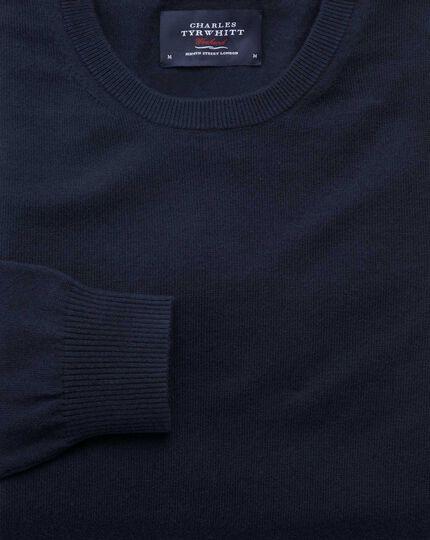 Navy cotton cashmere crew neck jumper