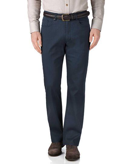 Blue classic fit stretch pique 5 pocket pants