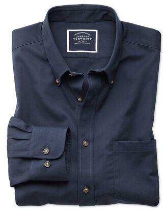 Slim fit button-down non-iron twill navy blue shirt