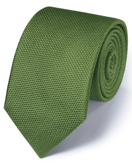 Cravate classique verte en soie unie