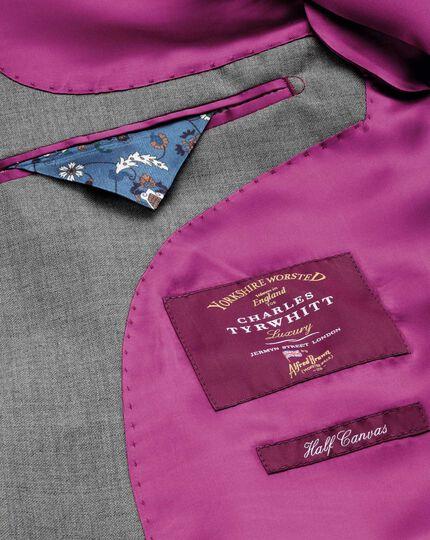 Silver slim fit British Panama luxury suit jacket