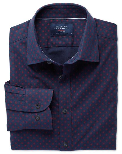 Slim fit navy and red spot print shirt