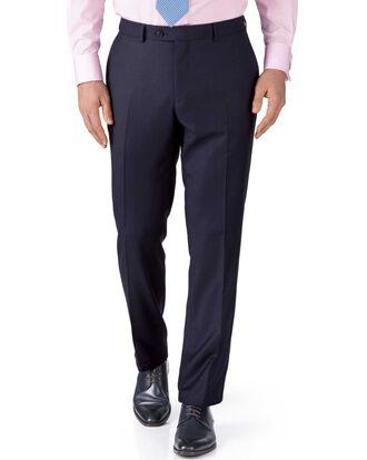 Navy slim fit birdseye travel suit pants