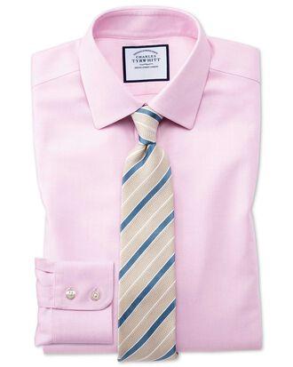 Bügelfreies Slim Fit Hemd aus Stepweave-Gewebe in Rosa