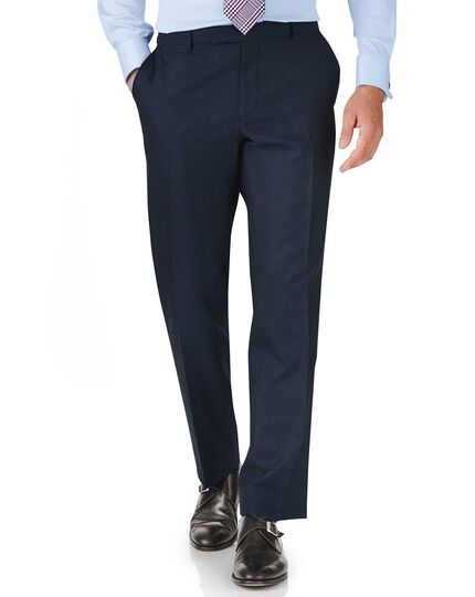 Blue classic fit British Panama luxury suit trousers