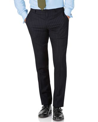 Navy stripe slim fit twill business suit trousers