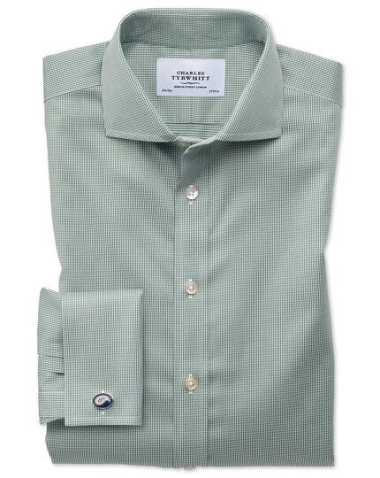 Slim fit spread collar non-iron puppytooth olive shirt