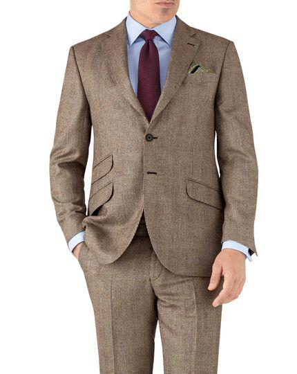 Tan check classic fit British serge luxury suit jacket