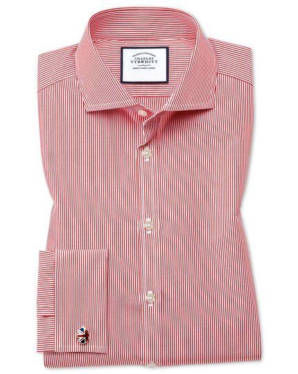 Extra slim fit cutaway collar non-iron bengal stripe red shirt