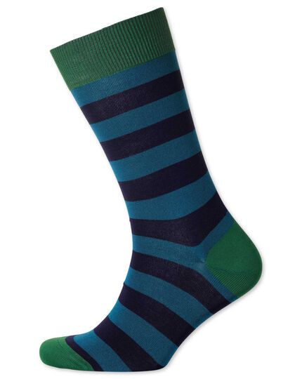 Blue and navy stripe socks