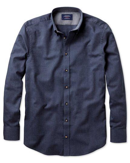 Classic fit button-down soft cotton plain blue shirt