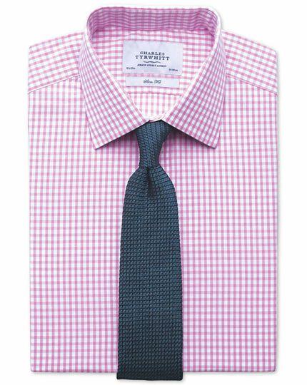 Slim fit gingham pink shirt