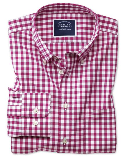 Slim fit button-down non-iron poplin red gingham shirt
