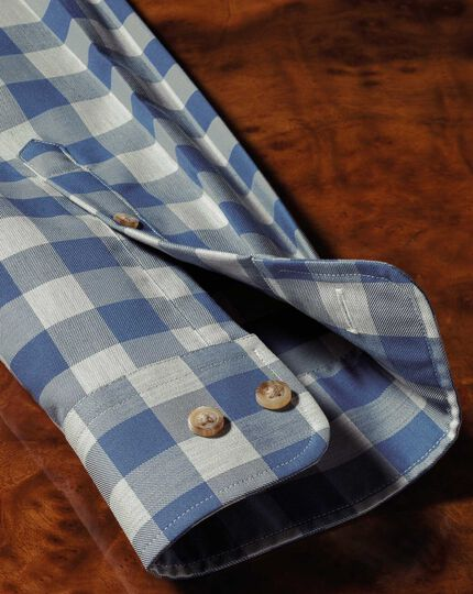 Extra slim fit button-down non-iron twill blue and grey check shirt