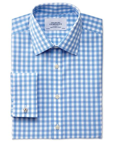 Classic fit non-iron gingham sky blue shirt