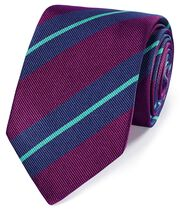 Berry and blue silk super reppe stripe English luxury tie