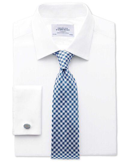 Classic fit Pima cotton herringbone white shirt