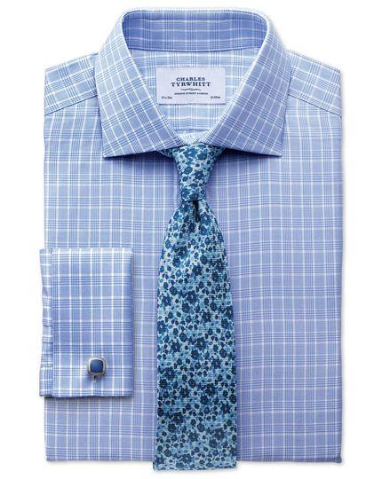 Slim fit Prince of Wales basketweave sky blue shirt