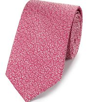 Pink silk micro leaf classic tie