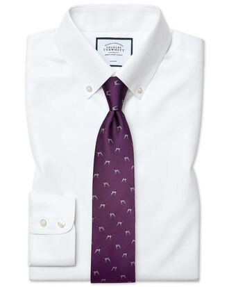 Slim fit button-down non-iron twill white shirt