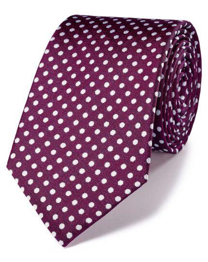 Magenta and white silk classic Oxford spot tie