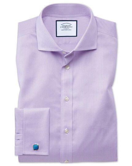 Chemise lilas en pied-de-poule sans repassage slim fit avec col cutaway