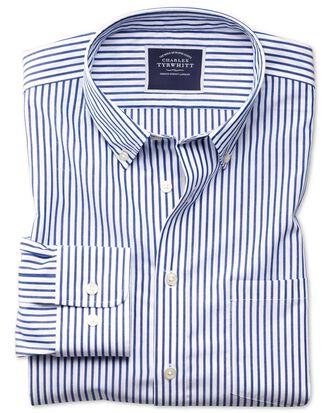 Bügelfreies Classic Fit Popeline-Hemd in Blau mit Streifen