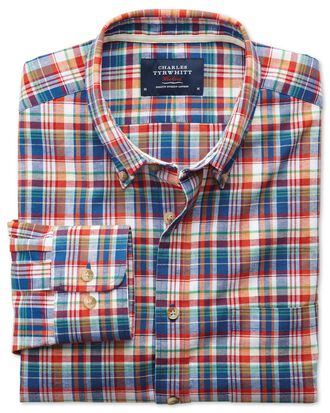 Classic fit orange and blue check shirt
