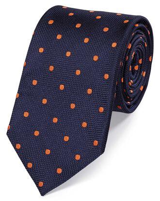 Cravate classique bleu marine et orange à pois en soie