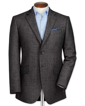 Classic fit grey birdseye lambswool jacket