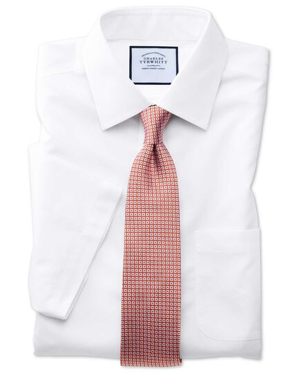 Classic fit non-iron poplin short sleeve white shirt